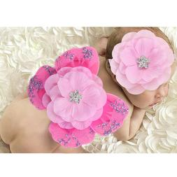 1 set Baby Photography Props Rhinestone Headband Costume for