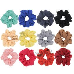 1 Solid Color Quality Chiffon Hair Scrunchies Women Hair Acc