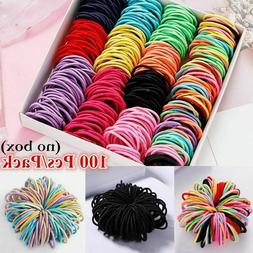 100Pcs Kids Girl Elastic Rope Hair Ties Ponytail Holder Rubb