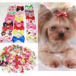 10Pcs Cute Dog Bowknot Rubber Band Handmade Pet Grooming <fo