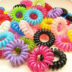 10PCS Women Girl Elastic Plastic Rubber Hairband Trailing Ha