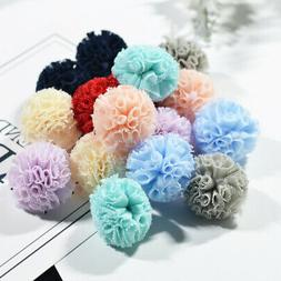 16 Korean Voile Pom Poms Ball Charms For DIY Jewelry Making