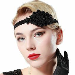 BABEYOND 1920s Flapper Headband Beaded Headpiece Vintage 20s