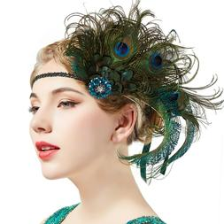 BABEYOND 1920s Flapper Peacock Feather Headband Great Gatsby