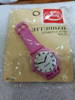 1987 Goody Barrette Watch face Automatic Clasp PINK Self adj