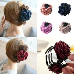 1PC Cloth Rose Flower Hair Claw Clip Barrette Jaw Clamp Wome