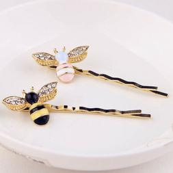 1Pcs Women Hair Accessories Crystal Bees Hair Clips Barrette