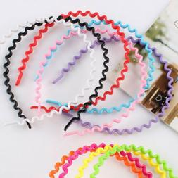 1X Girls Candy Color Plastic Wavy Head Hoop Fashion Headband