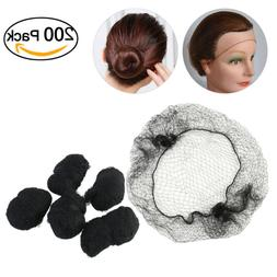 200set TINKSKY Black Hair Nets Invisible Elastic Edge Mesh H