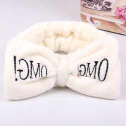 2019 New OMG Letter Coral Fleece Wash Face Bow Hairbands For