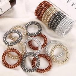 20pcs Hair Ties Ponytail Holder Spiral Coil Traceless Hair B