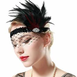 20s flapper headband roaring 20s feather headpiece