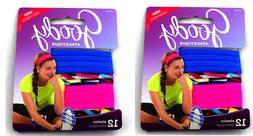 24 Goody Elastic Hair Ties, Blue, Pink and Colorful Ponytail
