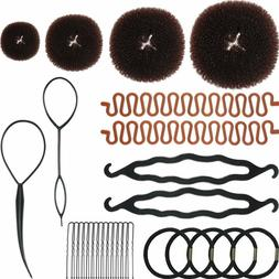28 Pieces Hair Styling Kit Set, Included 4 Donut Bun Makers,