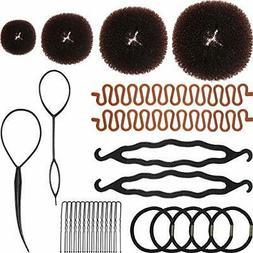 28 Pieces Hair Styling Kit Set Included 4 Pieces Hair Donut