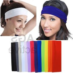 2pc HEADBAND Stretch Sports Yoga Gym Black Hair Band Wrap Sw