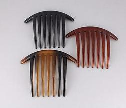 "3 Brown Black hair comb plastic 4"" wide hair accessory side"