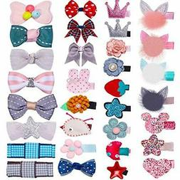 32Pcs Snap Hair Clips Lovely Metal Baby Barrettes For Girls