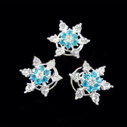 3pcs New Hair Accessories Snowflake Bride Spiral Rhinestone