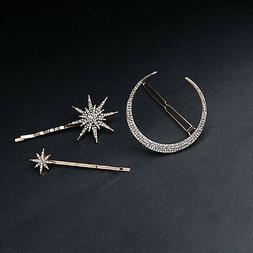 3Pcs/set Rhinestone Moon Star Hair Clips Vintage Hair Pin Ha