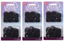 3PK of 250 Goody Ouchless Small Black No Metal Hair Elastics