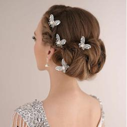 3X Bridal Bridesmaid Wedding Party Butterfly Hair Pin Headba