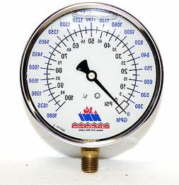 "NNI 4"" Liquid Filled Hydrant Flow GPM- PSI Dual read Gauge 1"