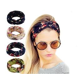 4 Pack Women Elastic Flower Printed Turban Head Wrap Headban