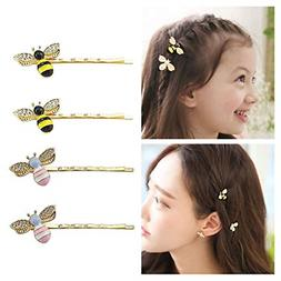 QTMY 4 PCS Metal Cute Bee Hairpin Hair Clips Hair Accessorie