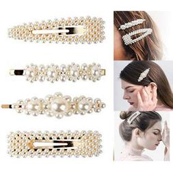 4 Pearl Hair Clip Snap Barrette Stick Hair Pin Hair Accessor