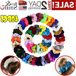 40 Pcs Colorful Velvet Hair Band Scrunchies Set, Elastic Bob