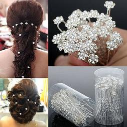 40 PCS Wedding Hair Pins Crystal Pearl Flower Bridal Hairpin