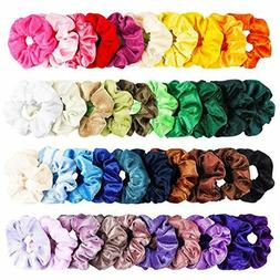 WATINC 40Pcs Colorful Velvet Hair Scrunchies Set, Elastic Bo