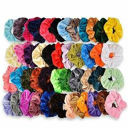 46 Pack Hair Scrunchies Elastic Bands Velvet Hair Bobbles Po
