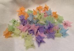 48 Pastel Fuzzy Feel Mixed Mini Plastic Butterfly Hair Clips