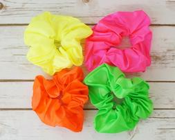 4PC Assorted Mix Satin Elastic Hair Scrunchies Neon Color Ha