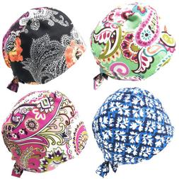 4pc Women Men Adjustable Sweatband Bouffant Scrub Cap Hat, O