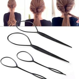 4pcs Black Topsy Tail Hair Braid Ponytail Maker Styling Tool