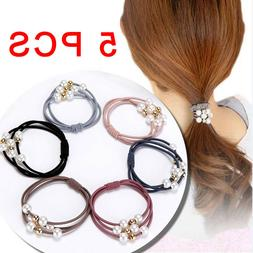 5 Pcs Pearl Elastic Hair Ties Band Ropes Ring Ponytail Holde