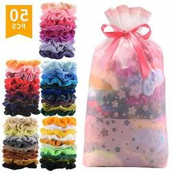 50 Pcs Premium Korean Velvet Hair Scrunchies Hair Bands Scru