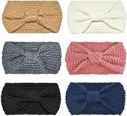 DRESHOW 6 Pack Bow Headband for Women Knotted Hair Band Faci