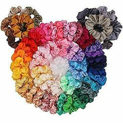 60 Packs Silky Satin Hair Scrunchies Ponytail Holder Hair Ac