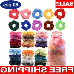 60 pcs colorful velvet hair band scrunchies