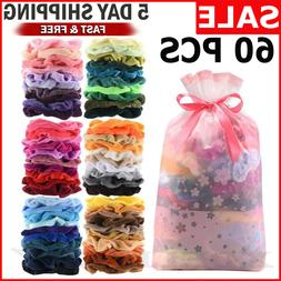 60 PCS COLORFUL VELVET HAIR BAND Scrunchies Set, Elastic Bob