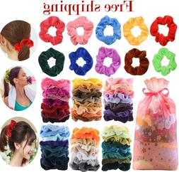 60 Pcs Premium Velvet Hair Scrunchies Hair Bands Scrunchy Ha