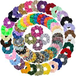 65Pcs Elastic HairBands Satin Bobbles Ties Scrunchies Ropes