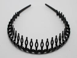 8 Black Plastic Wave Hair Band Headband 8mm with Teeth Hair