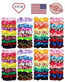 80 Pcs Silk Satin Hair Scrunchies Elastic Hair Bobbles Bands