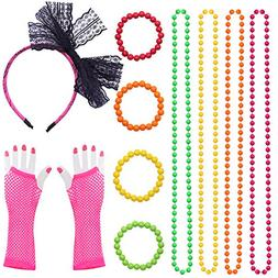 Dreamtop 80s Neon Necklaces and Bracelets Fishnet Gloves Bow