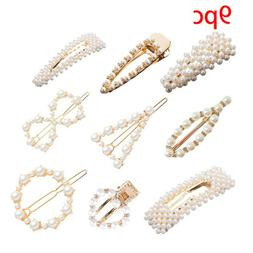 9PC Exquisite Sweet Pearl Hairpin Bow Ladies Hairpin Jewelry